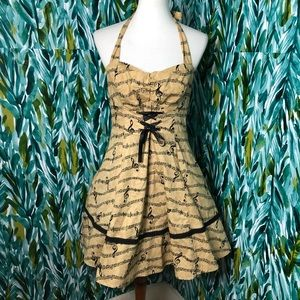 Hot Topic Woman's Large Music Note Halter Dress